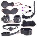8Pcs Leather Fetish Bondage Sex Toys for Couples Handcuffs Whip Gag Nipple Clamps Restraint Set Kit Bdsm Adult Games Erotic Toys