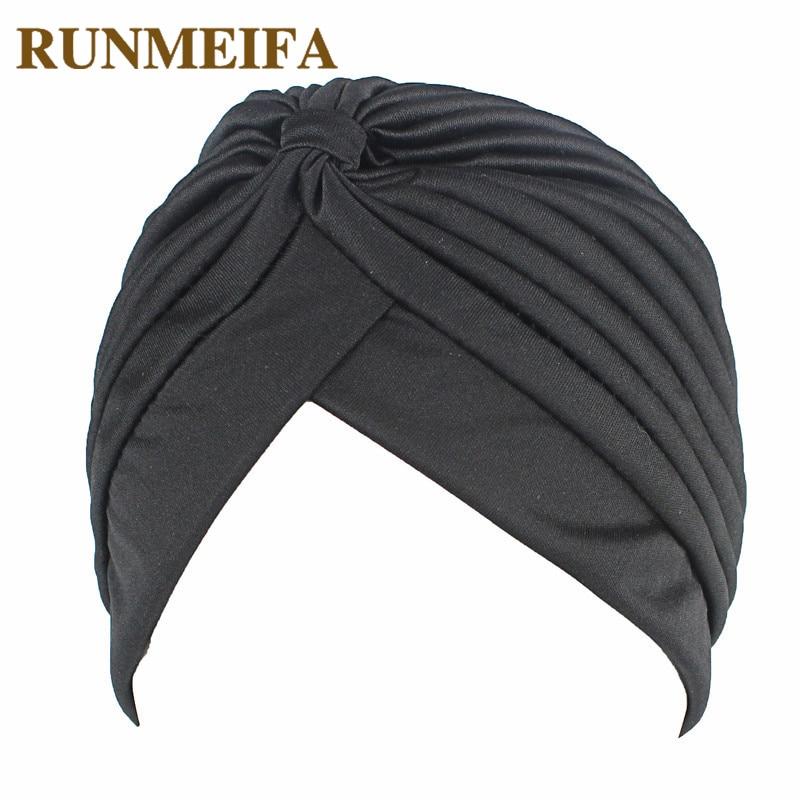 Muslim Headscarf Ruffle Hijab Solid Bonnet Turban Soft Comfortable Beanies Indian Hat Women's Pleated Head   Wrap