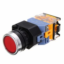 AC 220V LED Push Switch Button NO + NC START STOP Latching Push Button Switch Non-selfLock Control Yellow/Green/White/Red/Blue(China)