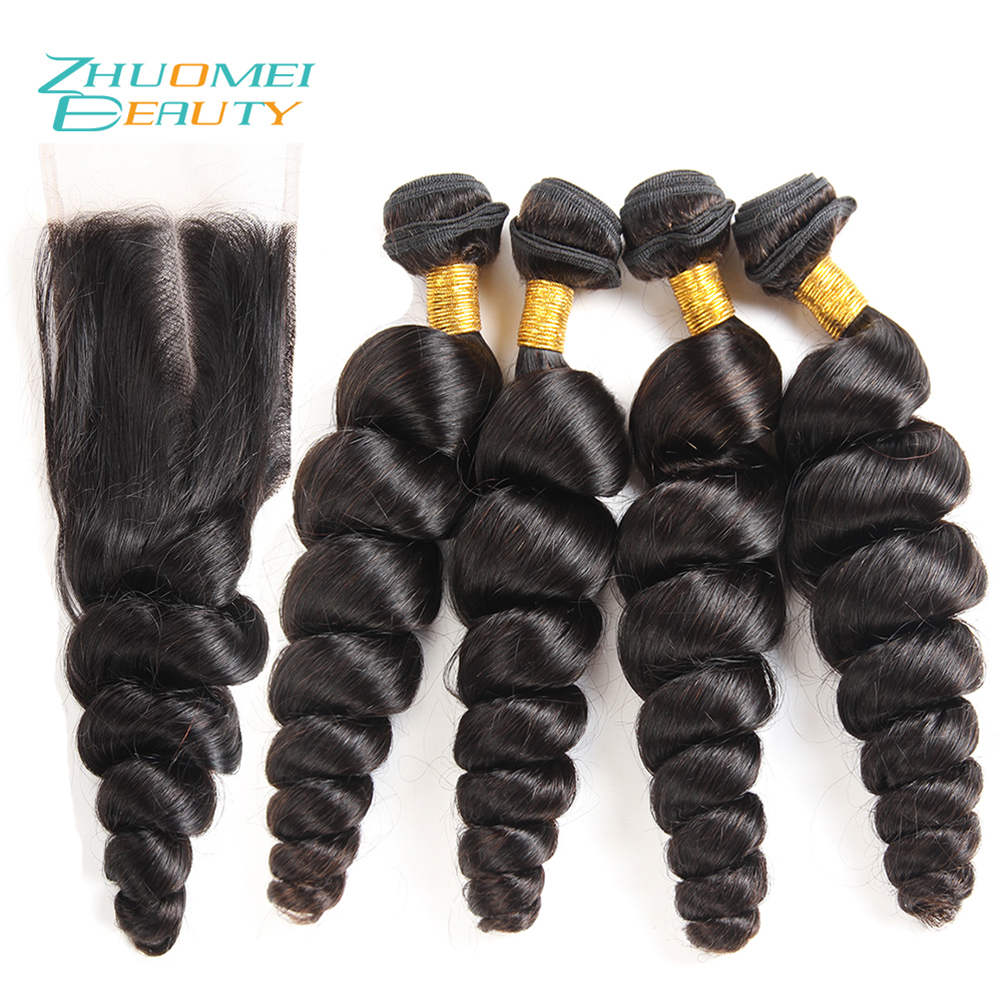 Zhuomei BEAUTY Brazillian Hair Bundles With Closure 4 Bundles Deal loose Wave Bundles With Lace Closure Remy Human Hair Weave