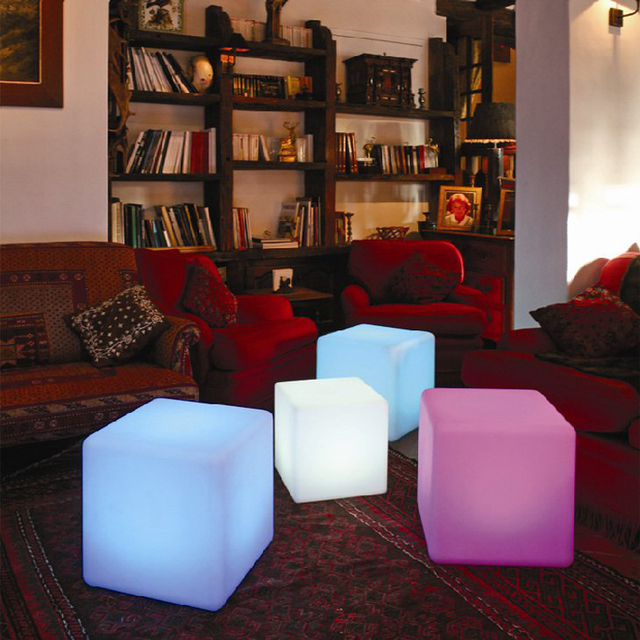 20cm RGB Rechargeable Led Cube Chair Plastic Outdoor Furniture Remote, Led  Cube Stool 16 Colors