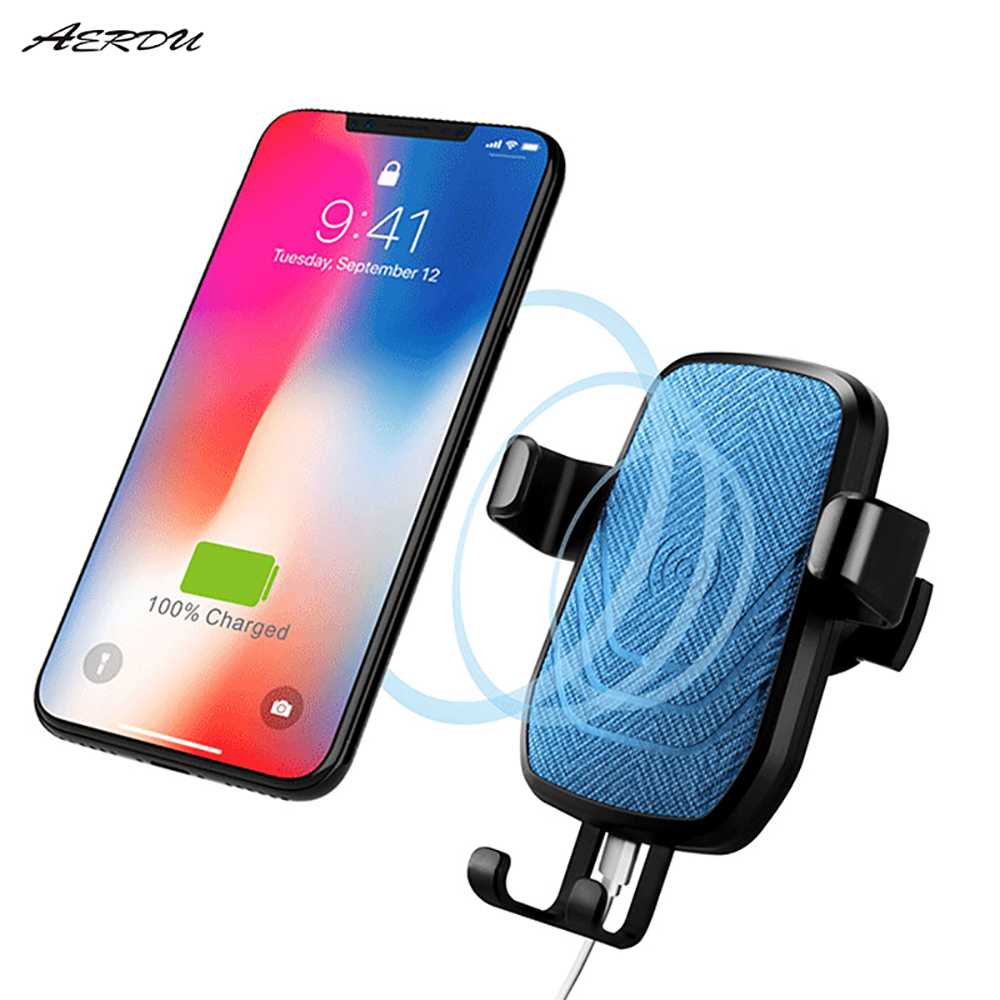 Aerdu QI Car Wireless Charging Mobile Phone Holder Air Outlet Stand FOR SAMSUNG S9 S10 Charger iphoneX