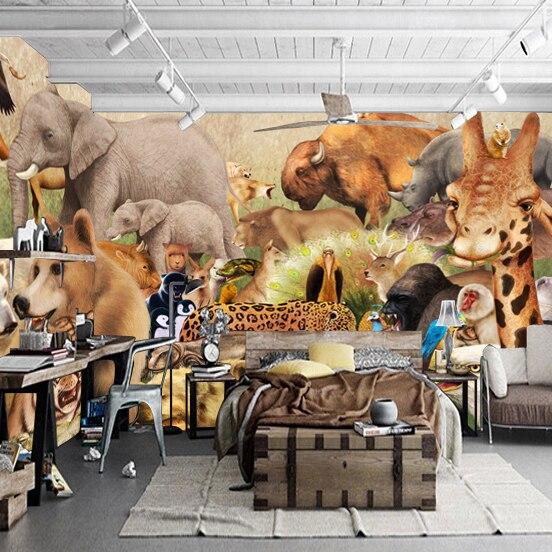 3D Animal Paradise Mural Wallpaper Full Wall Murals Print Decals Home Decor  Photo Wallpaper(China
