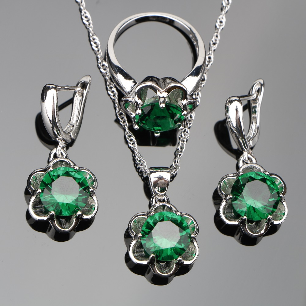 Green Zirconia 925 Sterling Silver Jewelry Sets Women Bridal Stone Ladies Earrings Pendant Necklaces Rings Set Jewelery Gift Box