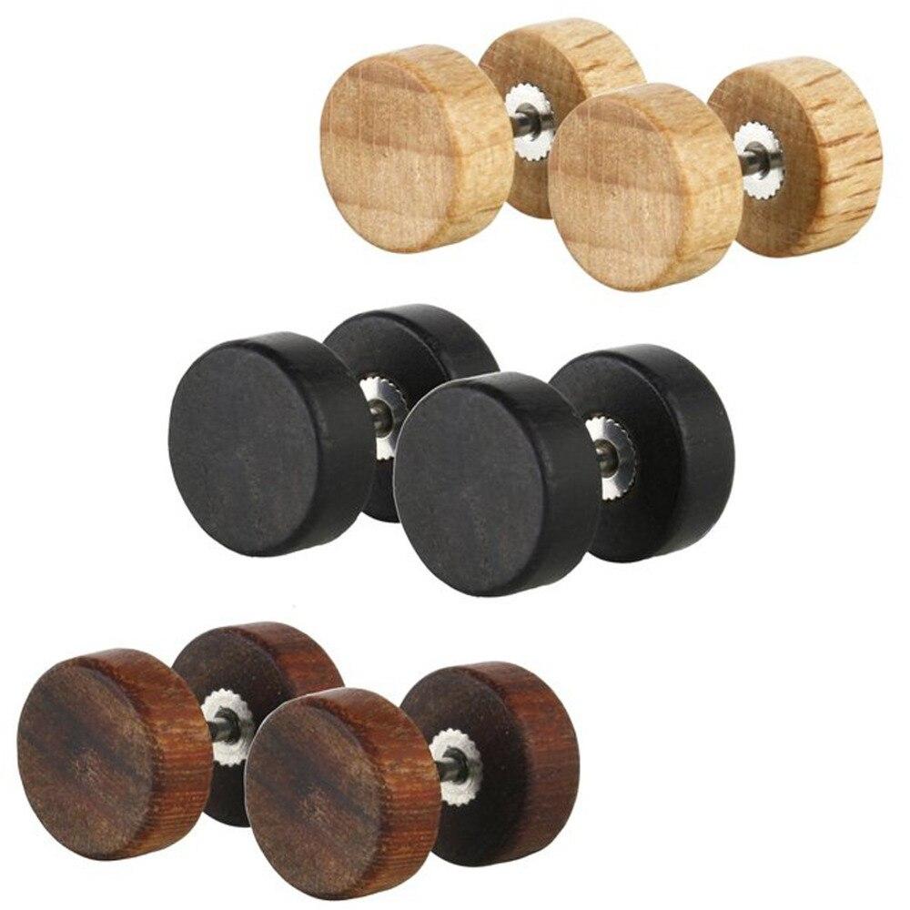 Free Shipping 3 Pairs Of Natural Wood Fake Illusion Ear Plugs Earrings  Studs Naturalanic Retro