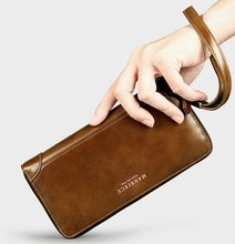 Top Quality Oil Wax Leather Men Wallets Fashion Male Clutch Purse Long Coin Purse Genuine Leather Card Holder Wallet Wristlet