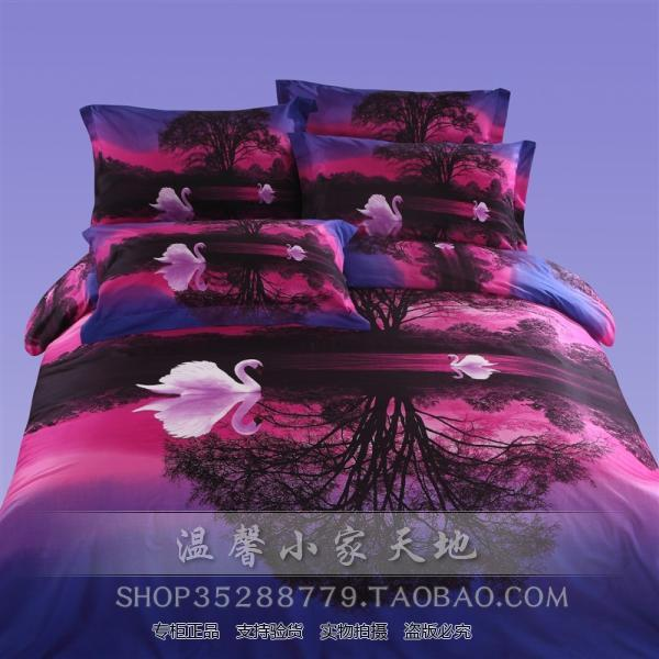 3d Blue Pink Purple Swan Bedding Set Sets Queen Size Duvet