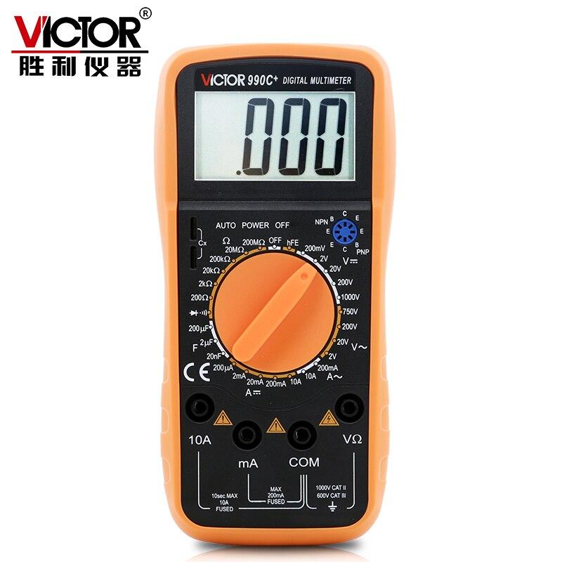 Victor 990C+ Manual Digital Meter Multimeter DC/AC Current Voltage Resistance 20M Ohm Capacitance Tester & Double fuse( VC990C+) victor vc86d digital multimeter temperature frequency resistance capacitance dc ac current voltage meter tester rs232