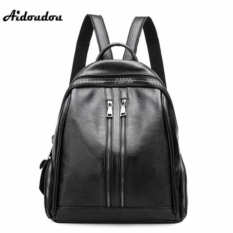 AIDOUDOU Fashion Double Zipper Backpacks School Bags Split Leather Women s Backpack Travel Shoulder Bags Mochila