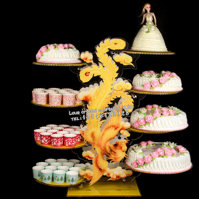 Chinese Style Acrylic Wedding Cake Stands 6 8 Layers Dragon Phoenix Acrylic  Crystal Colourful Cake