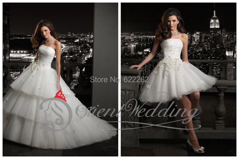 Handmade Flower Tiered Strapless Wedding Dresses With Detachable