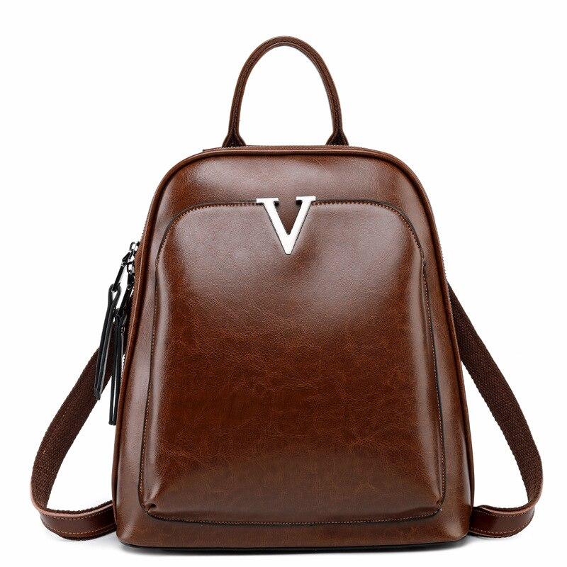Mode femmes sacs à dos Split cuir femmes sac à dos sac d'école solide couleur huile cire femme cuir collège sac