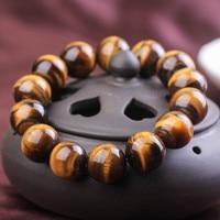 Natural Yellow Tiger Eye Stone Bracelets Round Beads Pi Xiu Bracelet for Men Women Wristband Jewelry 14mm