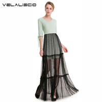 VELALISCIO Brand Women Dresses High Quality Cute Lace Ladies Clothing 2018 New Half Sleeve V Neck