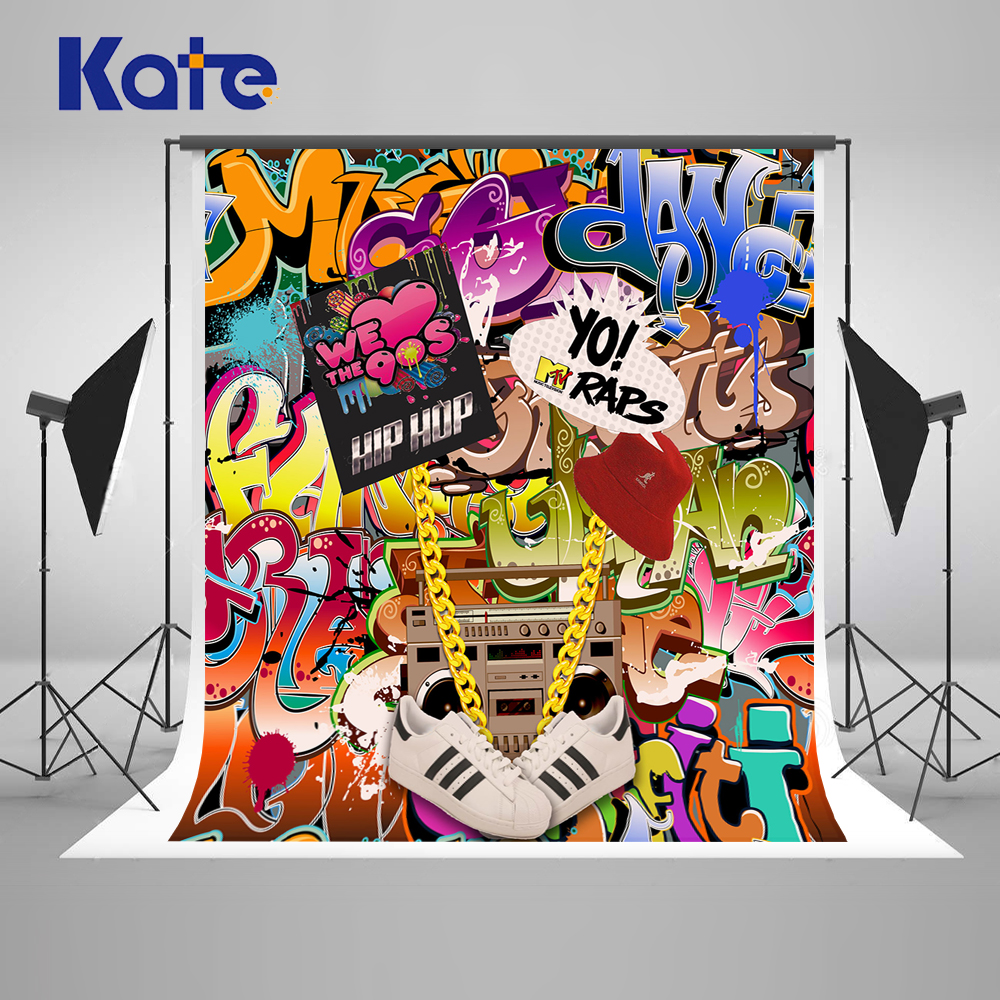 Kate Graffiti Wall Photography Backdrops 300cm back to 90S' Fashion Art Studio Background Backdrop Holiday Party Backdrop