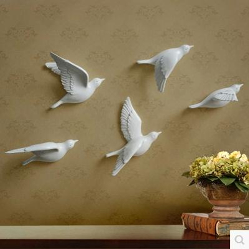 Resin bird creative wall murals, wall decoration, simple ...