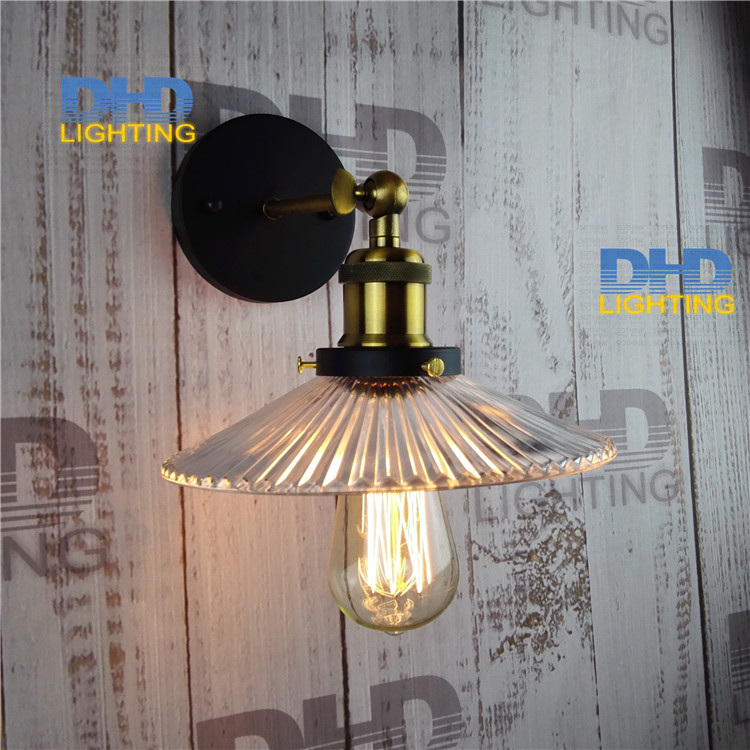 ФОТО Free shipping of 5pcs/lot Vintage clear glass shade brass socket wall lamp E27 industrial edison filament lamp fixtures