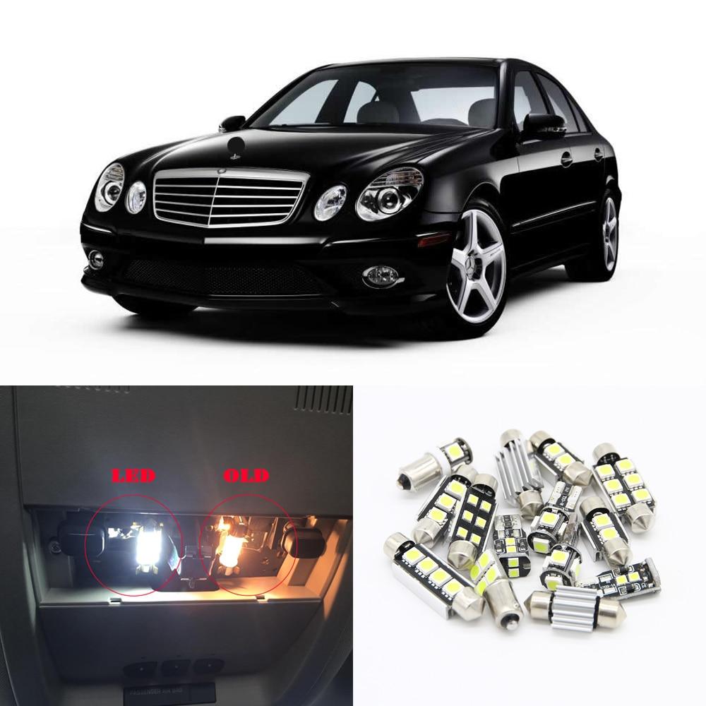 17 шт. Canbus белые Автомобильные светодиодные лампы интерьерный комплект для 2002-2007 Mercedes Benz e-класс W211 карта Dome Footwell Светодиодная лампа
