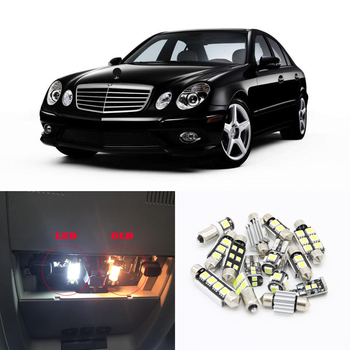 цена на 17pcs Canbus White Car LED Light Bulbs Interior Package Kit For 2002-2007 Mercedes Benz E-Class W211 Map Dome Footwell Led Lamp