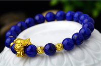August 999 24k Yellow Gold Sheep Blue Stone Beads Bracelet 1.64g