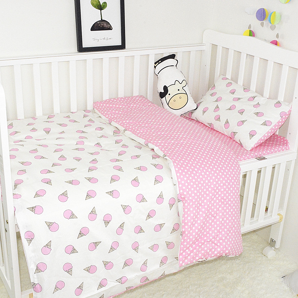 3Pcs/Set Baby Bedding Set Soft Cotton Print Cartoon AB Face Newborn Quilt Cover Cot Sheet Pillowcase Baby Bed Set Crib Bedding