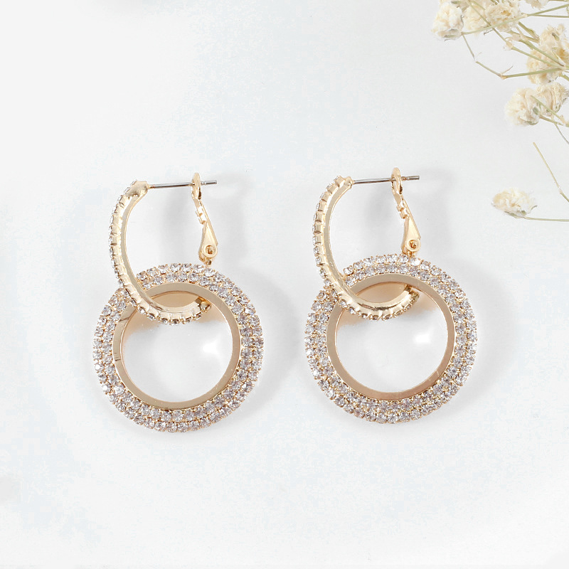 HTB1bfv2X5DxK1RjSsphq6zHrpXas - Hot Party Big Circle Drop Earrings for Women Simple Blue Rhinestone Double Round Geometric Pierced Earring Jewelry Gift 4 Colors