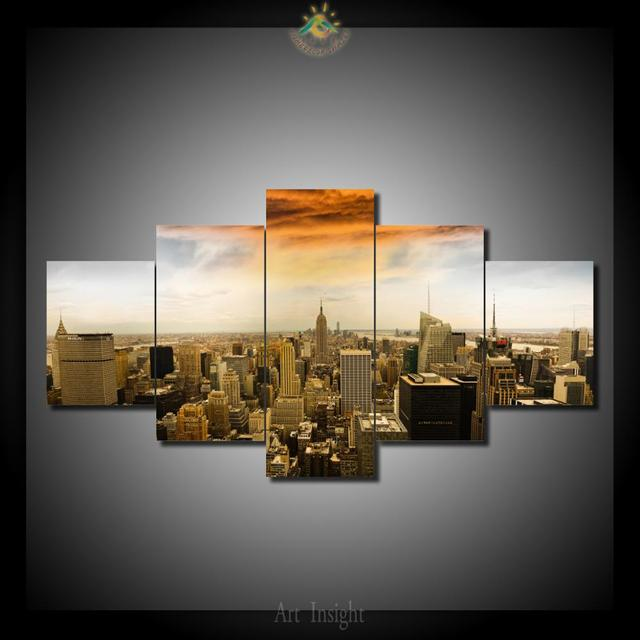 5 Pieces/set New York City Sunset Painting Canvas Wall Art Picture Home  Decoration Living