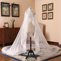 Lover Kiss Tulle White Ivory Cathedral Wedding Veil For Brides Lace Edge One Layer Weddings Accessories veu de noiva 3 metros