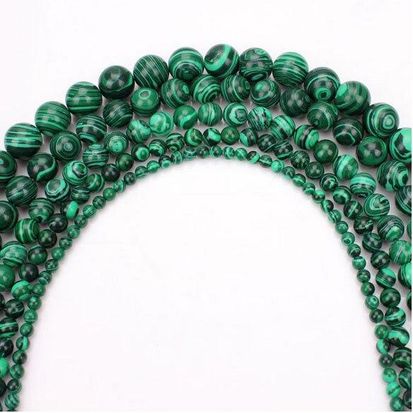1 String 4/6/8/10/12mm Natürliche Stein Runde Ball Malachit Perlen Für Diy Mode Perlen Armband Schmuck Machen