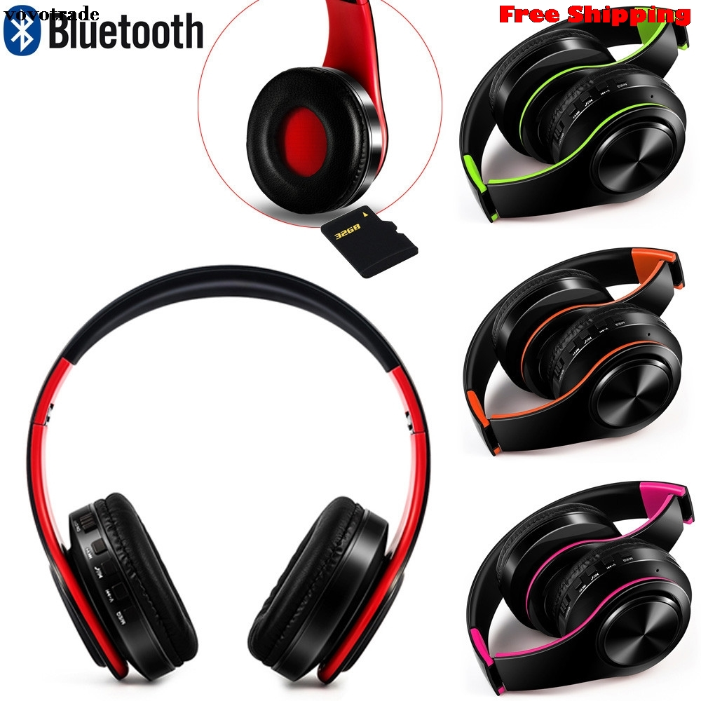 Bluetooth Headphones Over Ear Hi-Fi Stereo Wireless Headset With Mic For PC Smartphone Mp3 Headphone Headset Free Shipping wireless bluetooth stereo headset headphone with mic for cellphone pc mp3 mp4 bluetooth headset speaker