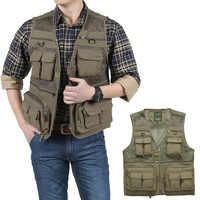 Extérieur été tactique pêche gilet vestes hommes Safari veste Multi poches voyage sans manches vestes S-7XL grande taille, ZA561
