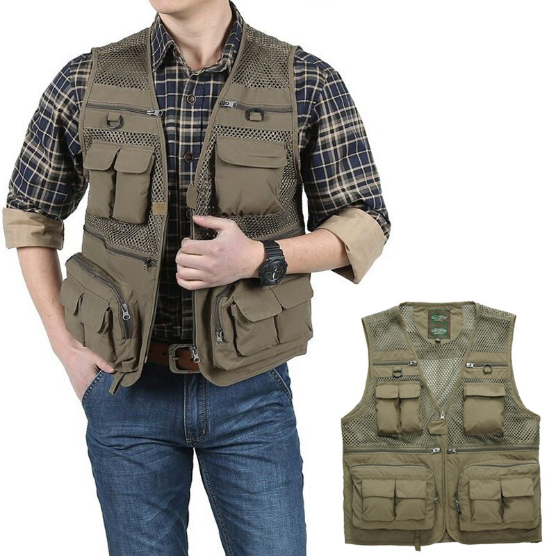 Outdoor Summer Tactical Fishing Vest Jackets Men Safari Jacket Multi Pockets Travel Sleeveless Jackets S- 7XL Plus Size, ZA561