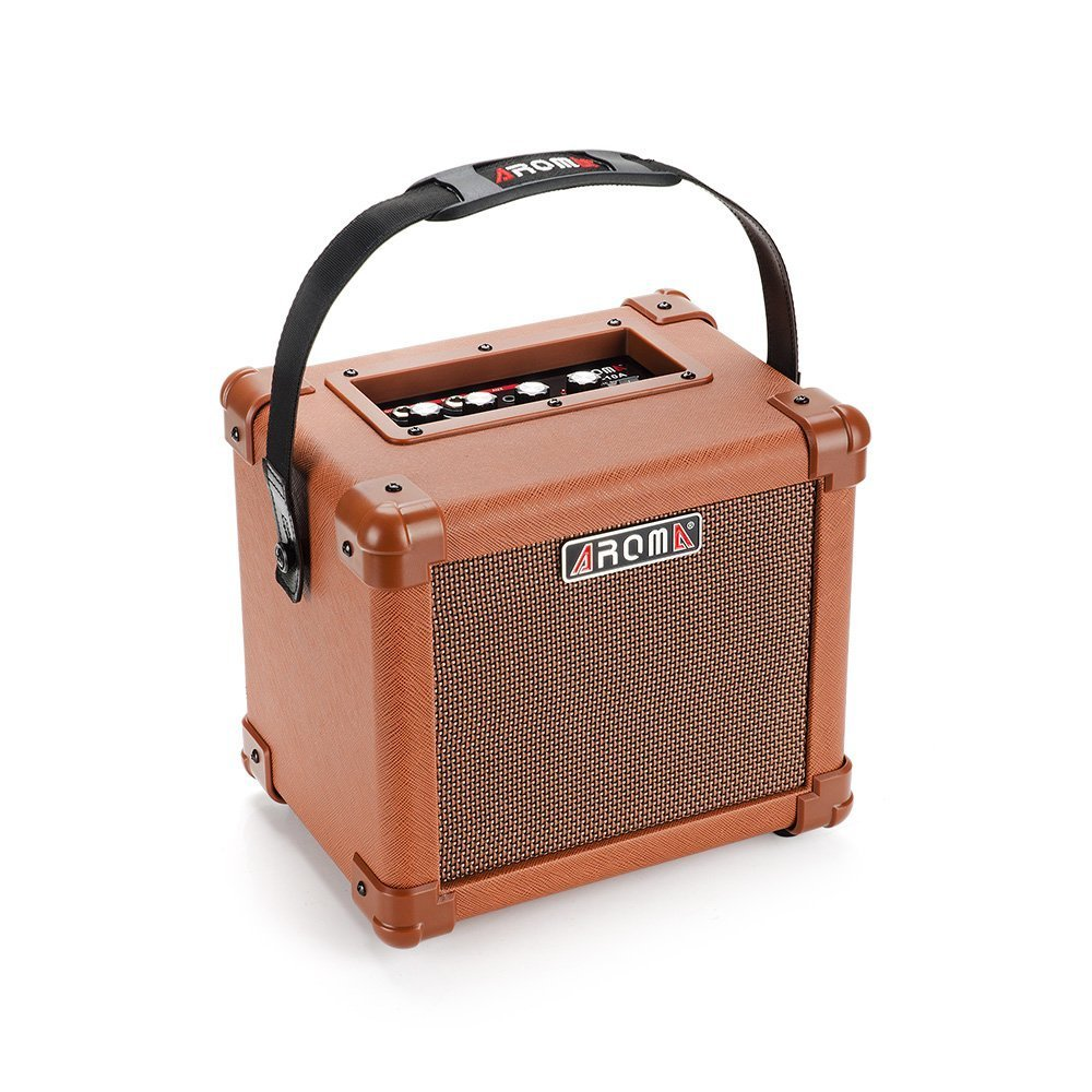 aroma ag 10a 10w brown guitar amplifier speaker box handy portable acoustic guitar amp sound for. Black Bedroom Furniture Sets. Home Design Ideas