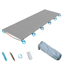 Outdoor Camping Mat Portable Ultra Light Aluminum Folding Bed Multi Function Rest Bed Travel Mountain Climbing Solid Folding B