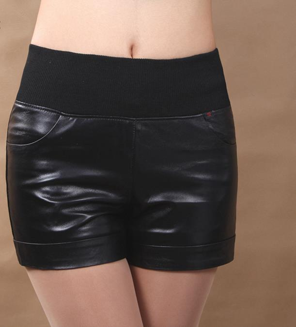 Shorts Elastic-Waist Sexy-Style Black High-Quality Genuine-Leather Women's Slim Sheepskin