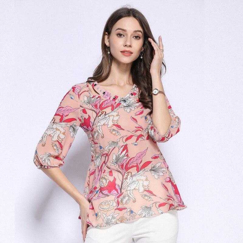 2019 été mode dames mignon en mousseline de soie chemise blouse décontractée lanterne manches col en V perlé hauts grande taille surdimensionné camisa L-5XL