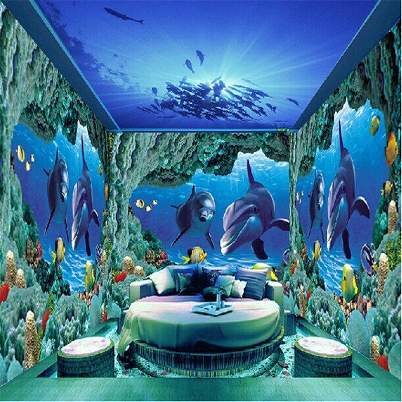 Beibehang Custom World Photo Murals Wall Paper Papel De Parede 3d Dolphins Seabed TV Backdrop Mural Sticker Wallpaper Home Decor