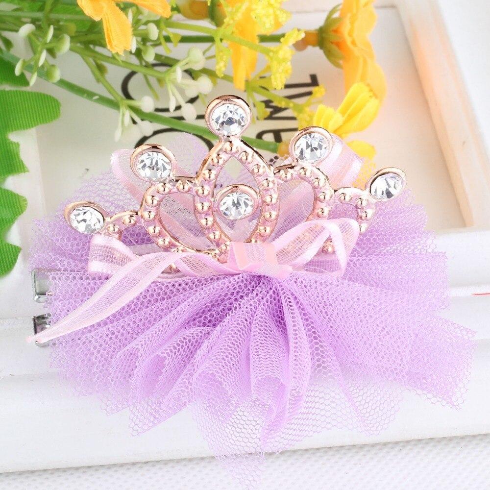 New Design Shiny Rhinestone Crown Hair Clip Girls Accessories Jepitan Rambut Anak Model Ballerina Grid Yarn Children Ribbon Baby Hairpins In From Mother