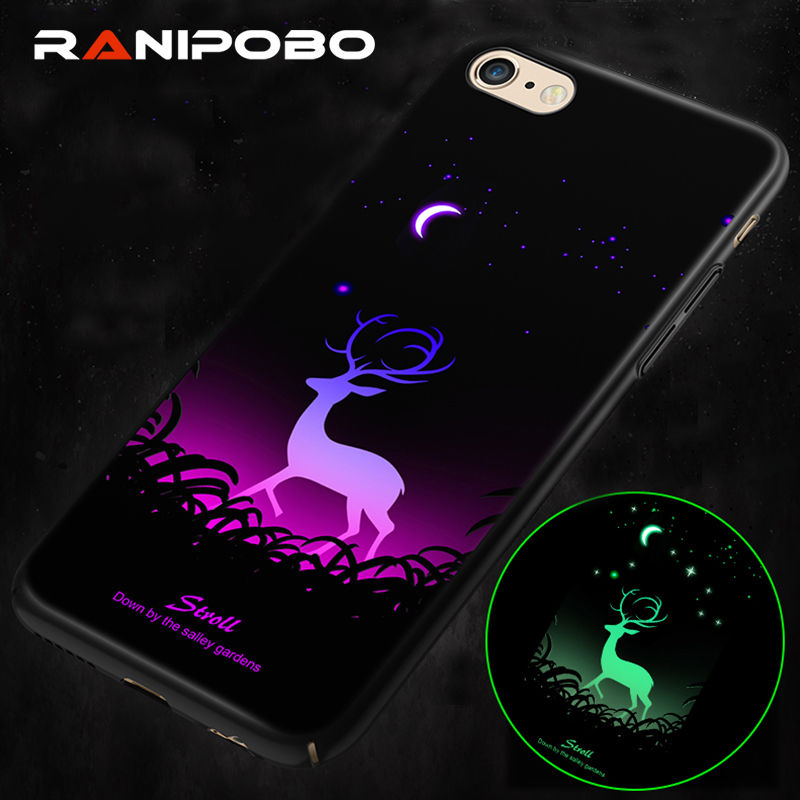 Cool Luminous Night moon Light Phone Case For iPhone X 6 6S Plus 7 7Plus 8 8Plus Fashion animal Full Protection Back Cover