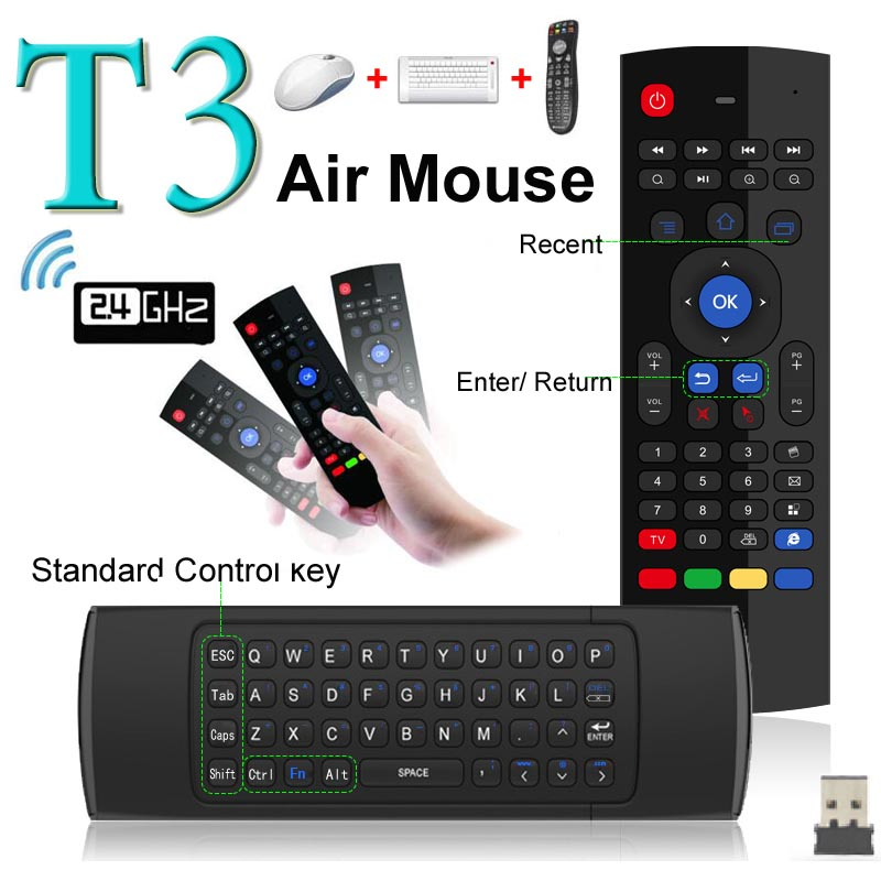 Newest Fly Air Mouse & Wireless Mini Keyboard with Mic & Remote Control T3 for Android TV Box Media Player Better Than MX3 X8 ucontrol mini ir remote control w 3 5mm jack for tv air conditioner set top box green