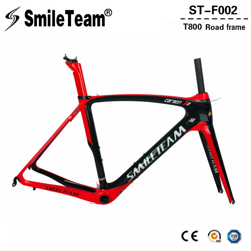 SmileTeam 2018 New Carbon Road Bike Frame T800 Carbon Di2 & Mechanical Racing Bicycle Frameset With Fork Seatpost Headset BB386 2018 t800 full carbon road frame ud bb86 road frameset glossy di2 mechanical carbon frame fork seatpost xs s m l og evkin