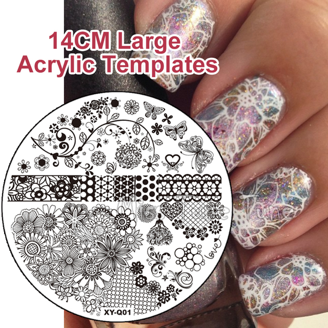NEW 14CM Large Round Clear Acrylic Nail Stamping Plates Stamp Templates Image Polish Easy Transfer Tool