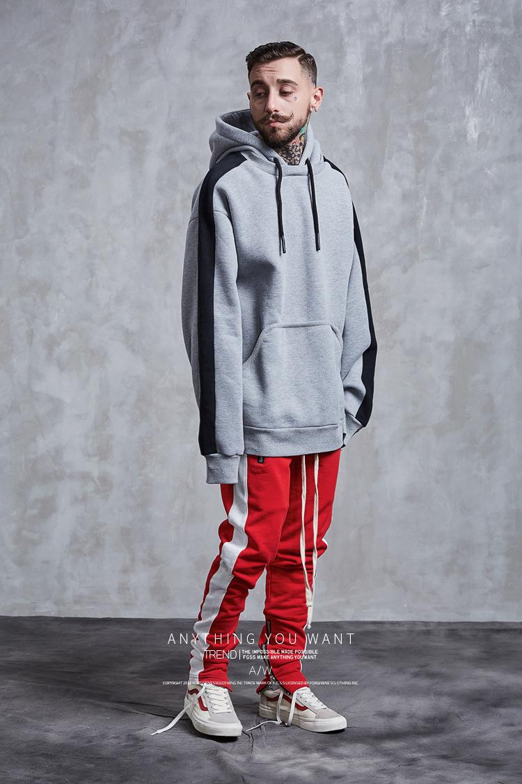 Aolamegs Hoodies Men Side Striped Hood High Street Pullover Cotton Fashion Hip Hop Streetwear Casual Big Pocket Hoodie Autumn (24)