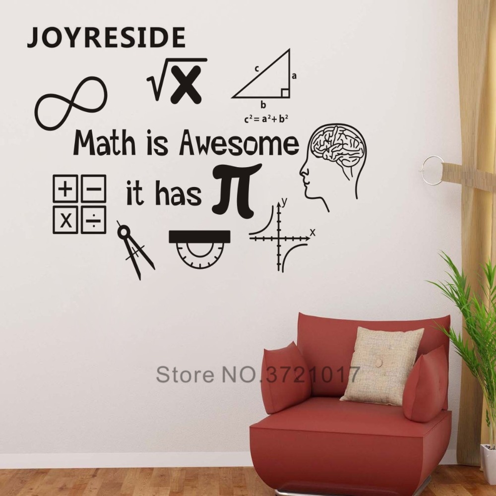 Home Decor Classes: JOYRESIDE Math Is Awesome Wall Decor Thinking Sticker