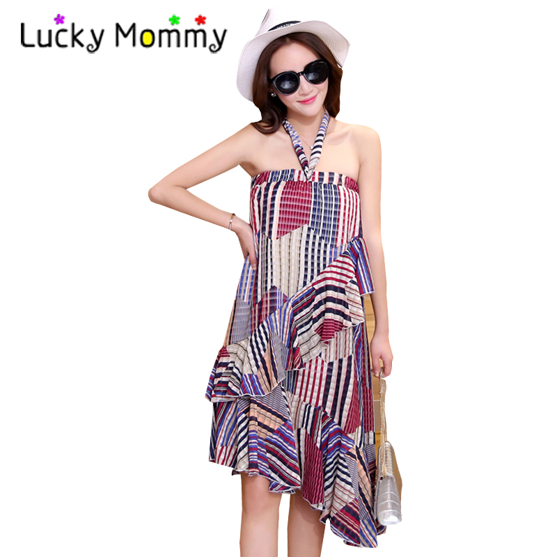 Plus Size 4XL 5XL Maternity Beach Dress Bohemian Maternity Clothes for Pregnant Women 2017 Summer Stripes Pregnancy Clothing