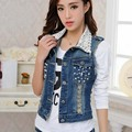 Woman Fashion Lace Collar Denim Vest Pearl Decorate Hole Denim Waistcoat Female Slim Body All Match Denim Clothing