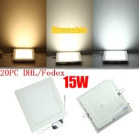 20PCS LED Dimmable Panel Light 15W Square Recessed Dimmable LED Ceiling Light Down Light With Driver