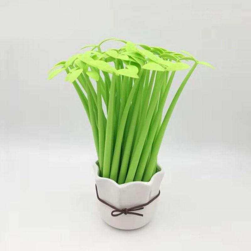1pcs / Lot , Lucky Leaf Gel Pen Creative 0.5mm Black Green Leaf Pen For School & Office Writing Supplies