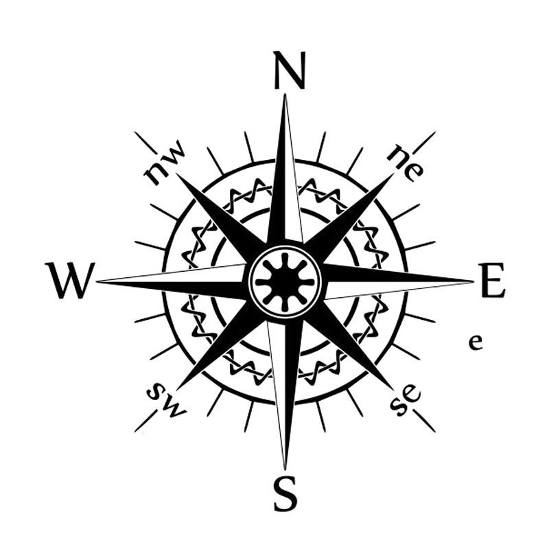 16cm*16cm NSWE Compass Wind Rose Bardian Vinyl Decal Car Stickers Black/Silver S6-3530