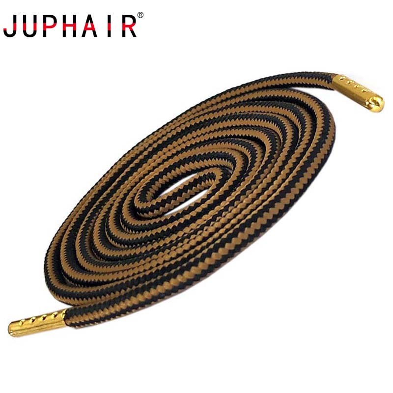 JUPHAIR Athletic Sport Round Shoelaces Gold Metal Tips Double Color Striped Non slip Outdoor Hiking Sneaker Shoe Laces Strings in Shoelaces from Shoes